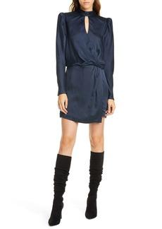 FRAME Keyhole Neck Long Sleeve Hammered Silk Minidress
