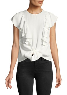 FRAME Knotted Flutter-Sleeve Button-Back Top