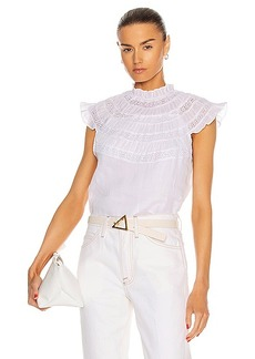 FRAME Lace Inset Short Sleeve Top