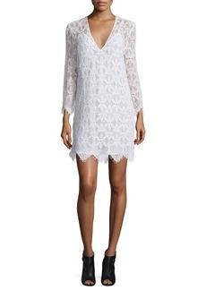 FRAME Lace Long-Sleeve Sheath Dress