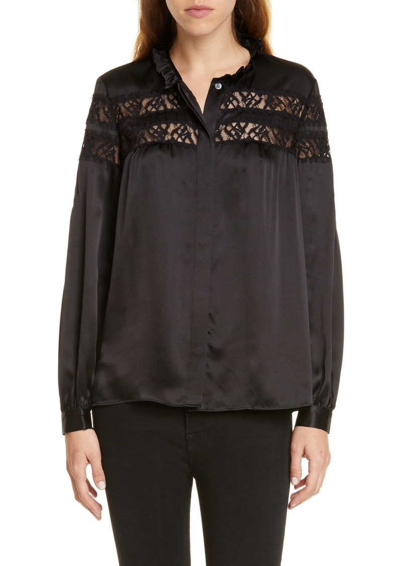 FRAME Lace Panel Silk Satin Blouse (Nordstrom Exclusive)