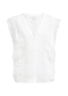 Frame Lace-panelled ramie blouse