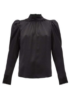 Frame Lace-trimmed silk-satin blouse