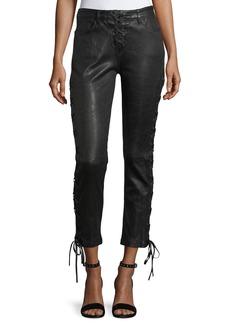 FRAME Lace-Up Crop Lamb Leather Pants