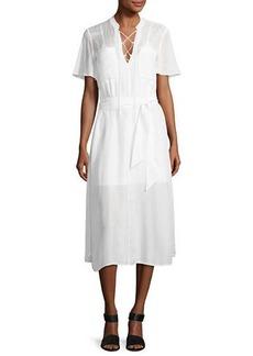 FRAME Lace-Up Midi Shirtdress