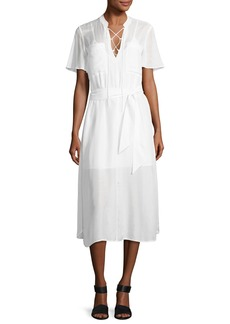 FRAME Lace-Up Midi Shirtdress