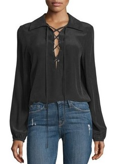 FRAME Lace-Up Silk Blouse