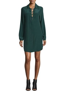 FRAME Lace-Up Silk Shirtdress
