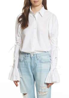 FRAME Lace-Up Sleeve Cotton Shirt