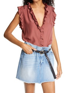 FRAME Lauren Ruffle Trim Silk Top