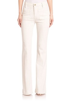 FRAME Le Bardot Stripe Flare Jeans
