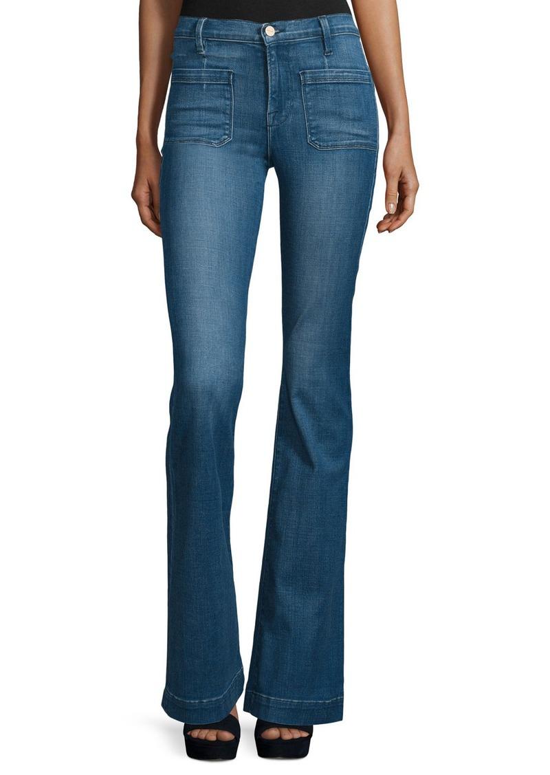 FRAME Le Bardot Striped Flare-Leg Jeans