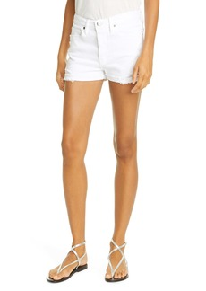 FRAME Le Beau Distressed Cuffed Shorts (Blanc Elsey)