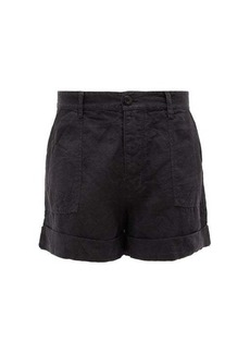 Frame Le Beau high-rise linen shorts