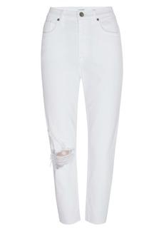 FRAME Le Beau Ripped Crop Straight Leg Boyfriend Jeans (Blanc Drive Rips)