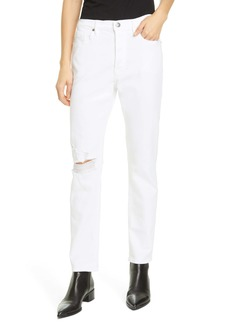 FRAME Le Beau Ripped Straight Leg Boyfriend Jeans (Blanc Drive Rips)