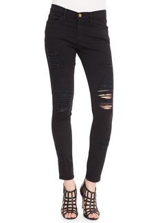 FRAME Le Color Rip Skinny Jeans  Film Noir