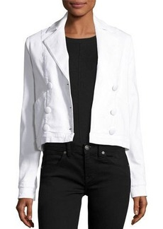 FRAME Le Crop Double-Breasted Denim Jacket