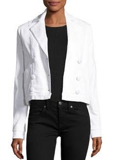 FRAME Le Crop Double-Breasted Denim Jacket