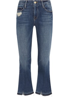 FRAME Le Crop Mini Boot distressed mid-rise flared jeans