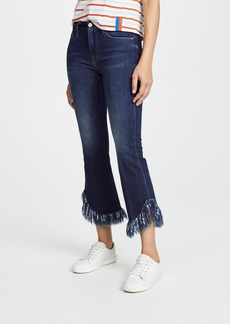 FRAME Le Crop Shredded Raw Jeans
