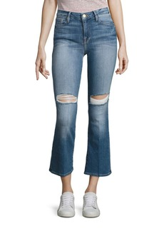 FRAME Le Cropped Distressed Mini Bootcut Jeans