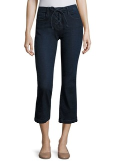 FRAME Le Cropped Mini Bootcut Lace-Up Jeans