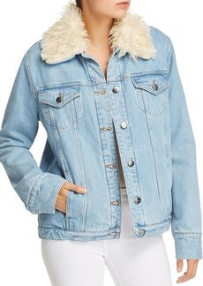 FRAME Le Curly Faux Fur-Lined Denim Jacket