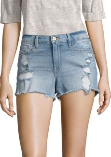 FRAME Le Cut-Off Distressed Denim Shorts