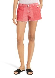 FRAME Le Cutoff Color Shadow Pocket Denim Shorts (Crimson Shadow)