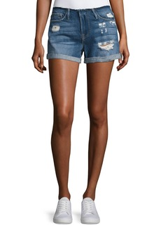 FRAME Le Cutoff Cuff Frayed Denim Shorts
