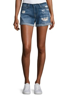 FRAME Le Cutoff Cuff Frayed Denim Shorts