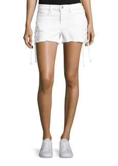 FRAME Le Cutoff Lace-Up Denim Shorts