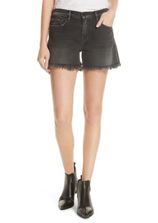 FRAME Le Cutoff Shredded Raw Denim Shorts (Conway)