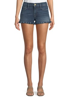 FRAME Le Cutoff Shredded Raw-Hem Denim Shorts