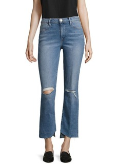 FRAME Le Distressed Asymmetric Hem Jeans