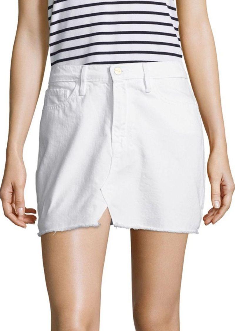 FRAME Le Frayed Denim Mini Skirt