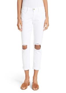FRAME Le Garcon Destroyed Crop Skinny Jeans (Blanc Oleander)