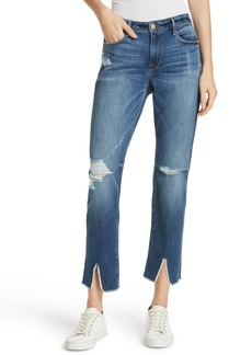 FRAME Le Garcon High Waist Raw Split Hem Slim Boyfriend Jeans (Pebbleton)