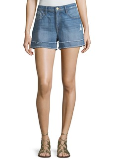 FRAME Le Grand Garcon Frayed Cuff Denim Shorts