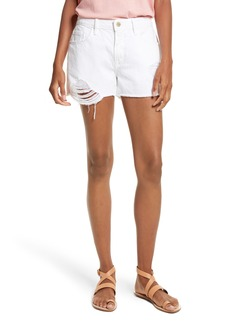 FRAME Le Grand Garçon Cutoff Denim Shorts (Blanc Albion)