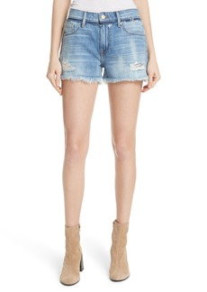 FRAME Le Grand Garçon Cutoff Denim Shorts (Heath Lane)