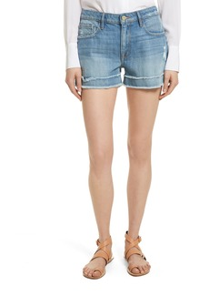 FRAME Le Grand Garçon Fray Cuff Denim Shorts (Heston)