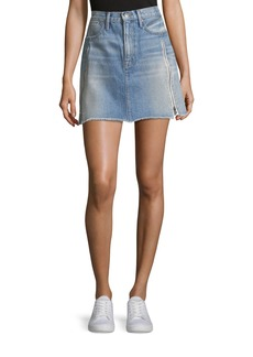 FRAME Le High A-Line Denim Skirt with Zipper Inserts