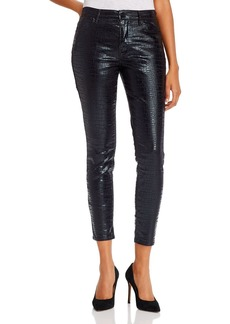 FRAME Le High Coated Skinny Jeans in Noir Croc