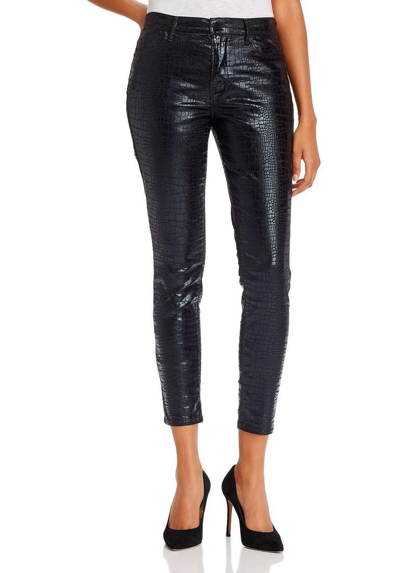 FRAME Le High Coated Skinny Jeans in Noir Croc