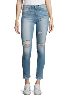 Le High Distressed Raw-Edge Skinny Jeans