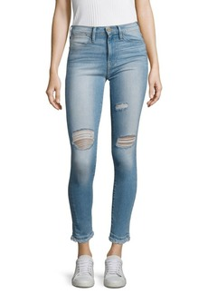 FRAME Le High Distressed Raw-Edge Skinny Jeans