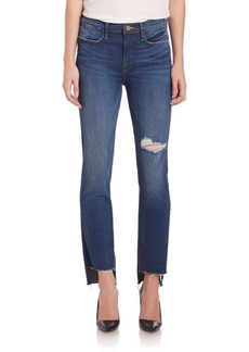FRAME Le High Distressed Straight Raw Stagger Jeans