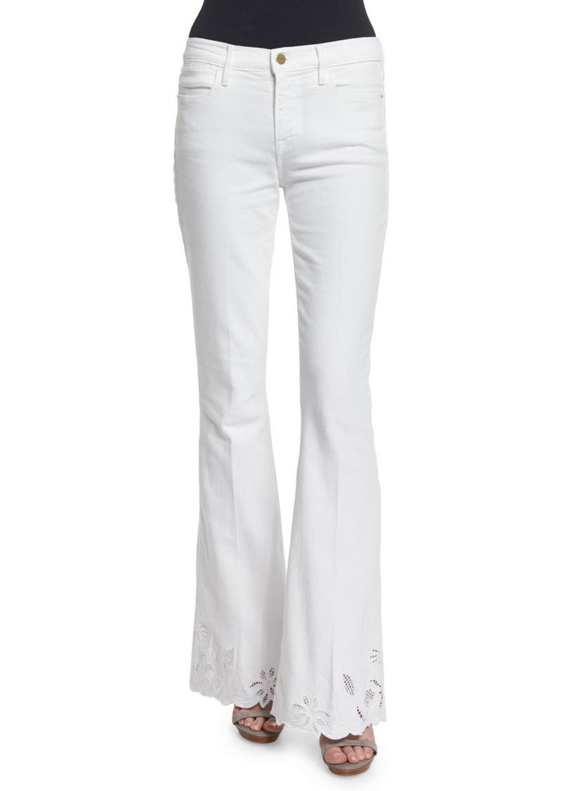 FRAME Le High Flare-Leg Eyelet-Hem Jeans